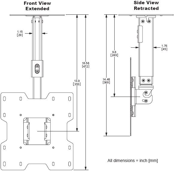 "Technical Drawing for Peerless PC-932A LCD Ceiling Mount for 15""- 37"" Screens"