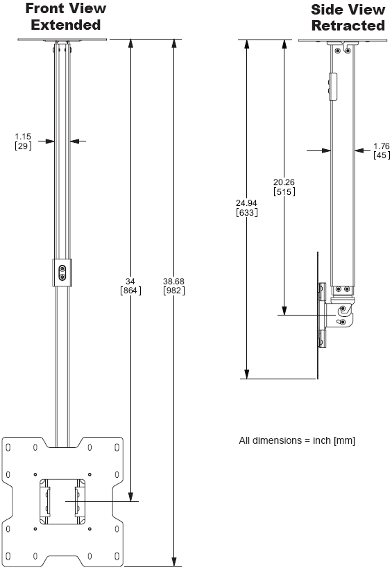 "Technical Drawing for Peerless PC-932C LCD Ceiling Mount for 15""- 37"" Screens"