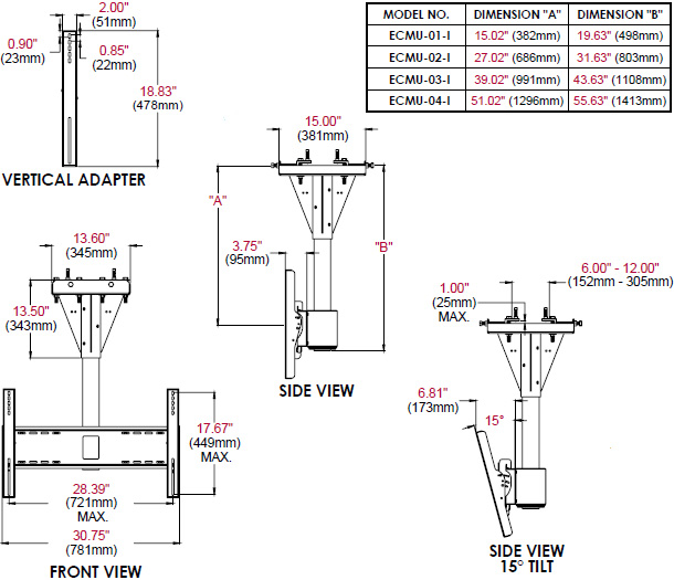 Technical Drawing for Peerless ECMU-I 1 to 4 feet Wind Rated I-Beam Ceiling Tilt Mount
