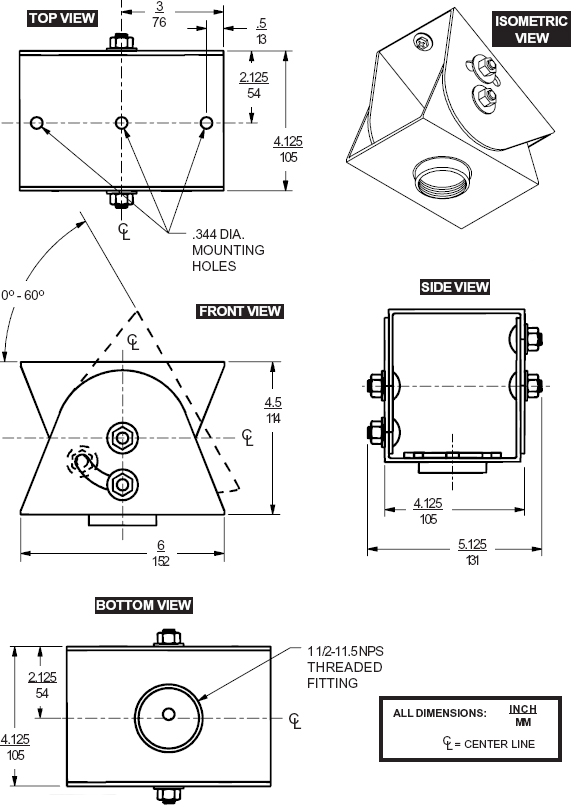 Technical drawing for  Peerless ACC556 Heavyweight Cathedral Ceiling Adapter