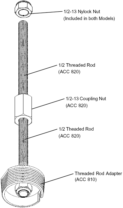 Technical drawing for  Peerless ACC810 Threaded Rod Adapter for Projector Mounts