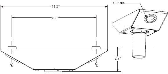 Technical drawing for  Peerless ACC840 Wood Joist Anti-Vibration Ceiling Plate