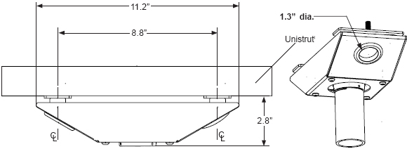 Technical drawing for  Peerless ACC845 Unistrut Anti-Vibration Ceiling Plate