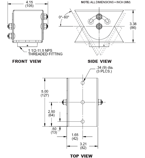 Technical drawing for  Peerless ACC912 Lightweight Cathedral Ceiling Plate for Projector