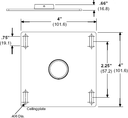 Technical drawing for Peerless CMJ300 Unistrut and Structural Ceiling Plate