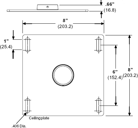 Technical drawing for Peerless CMJ310 Unistrut and Structural Ceiling Plate