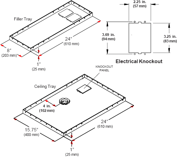 Technical drawing for  Peerless CMJ455 LightWeight Suspended Ceiling Plate for Projector Mounts