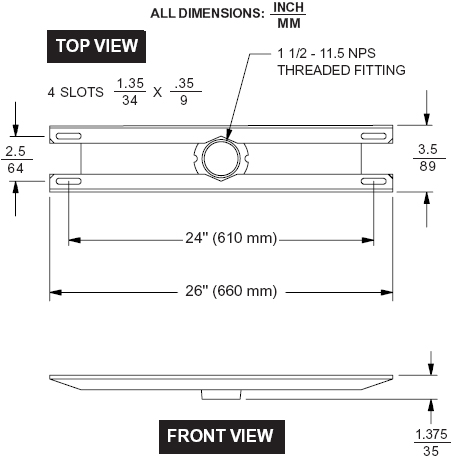 Technical drawing for Peerless ACC309 Wall Mount Video Conferencing Shelf