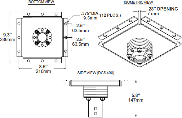 Technical drawing for  Peerless DCS400 Multi-Display Heavy Duty Ceiling Plate