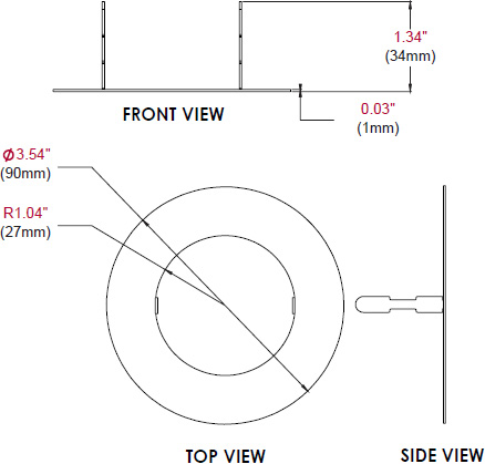 Technical drawing for  Peerless MOD-ATD-W Trim Disc for Modular Series Projector Mounts