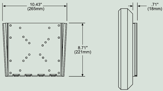 Dimensional Diagram for Peerless PF632 Paramount Flat Wall Mount PF 632