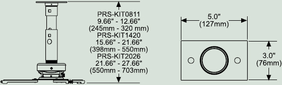 Dimensional Diagram for Peerless PRS-KIT1420 Adjustable Projector Mount