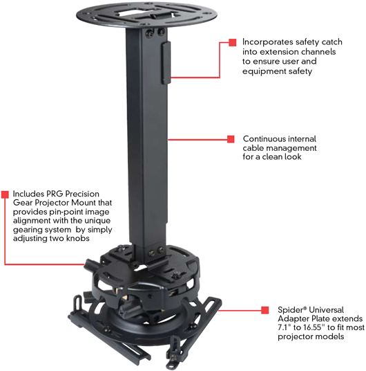 Peerless PRG-EXB PRG Series Adjustable Projector Ceiling or Wall Mount