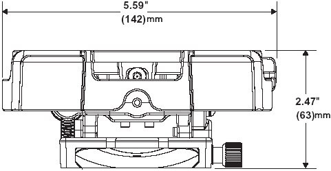 Technical Drawing of Peerless PRG-1 Precision Gear Projector Ceiling Mount