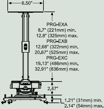 Dimensional Diagram for Peerless PRG-EXC Projector Ceiling Mount