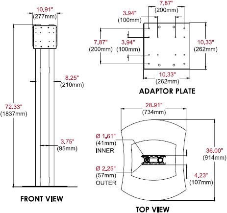 Technical Drawing for Peerless FPZ600 Flat Panel TV Stand up to 70