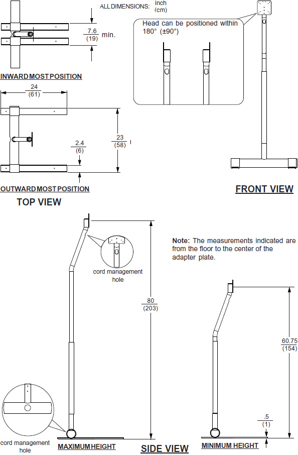 Technical Drawing for Peerless LCFS-100 or LCFS-100S Flat Panel Floor TV Pedestal Stand