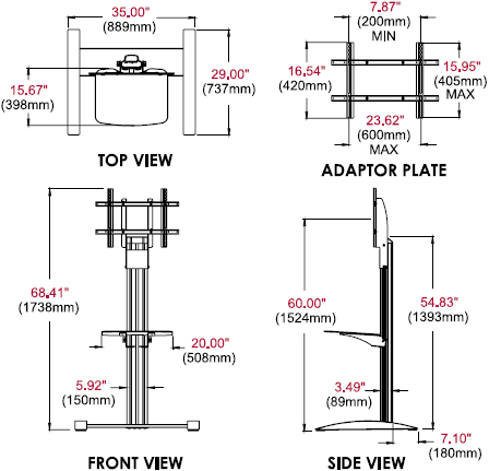 Technical Drawing for Peerless SS560G SmartMount Flat Panel Floor Stand with Glass Shelf