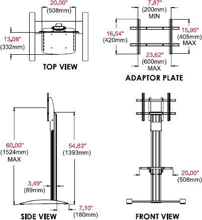 Technical Drawing for Peerless SS560M SmartMount Floor TV Stand with Metal Shelf
