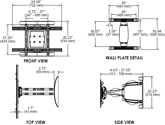 Technical drawing for Peerless SA763PU or SA763PU-S Universal Articulating Wall Mount Arm
