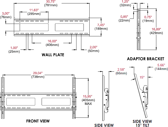 Technical drawing for Peerless EPT650 or EPT650-S Outdoor Universal Tilt Wall Mount