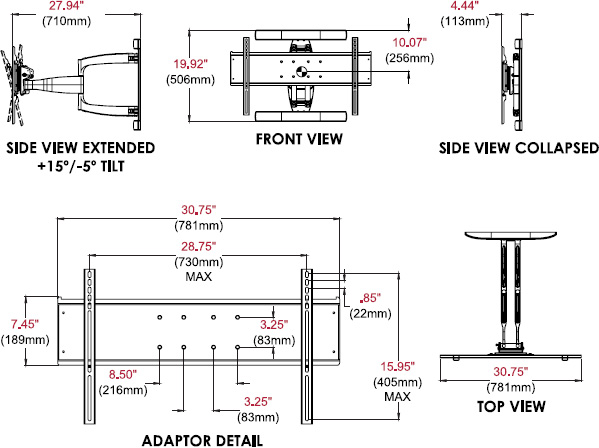 Technical drawing for  Peerless ESA763PU Outdoor Articulating Wall Mount, 32-80