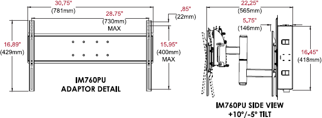 "Technical drawing for Peerless IM760PU In-Wall Mount for 32""-71"" Displays"