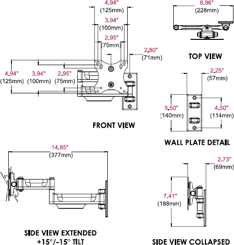 Technical drawing for  Peerless PA730 Paramount Articulating Wall Mount, 10-29