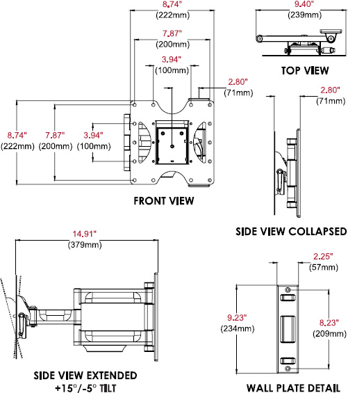 Technical drawing for  Peerless PA740 Paramount Articulating Wall Mount, 22