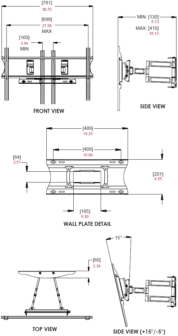 Dimensional diagram for Peerless PA-760 Paramount Articulating Wall Mount Arm for LCD Plasma Screens