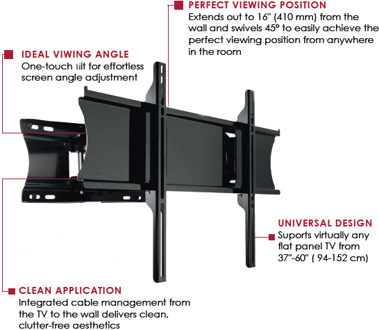 Peerless PA760 Articulating Wall Mount Arm for LCD and Plasma Screens