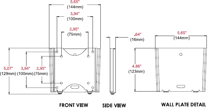Technical drawing for Peerless PF630 Paramount Flat Wall Mount