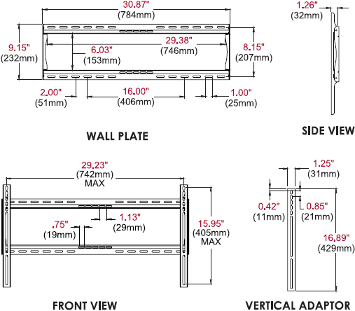 Technical drawing for Peerless PF650 Paramount Universal Flat Wall Mount