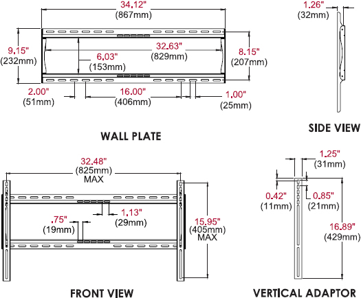 "Technical drawing for Peerless PF660 Universal Flat Wall Mount for 39"" to 90"" Displays"