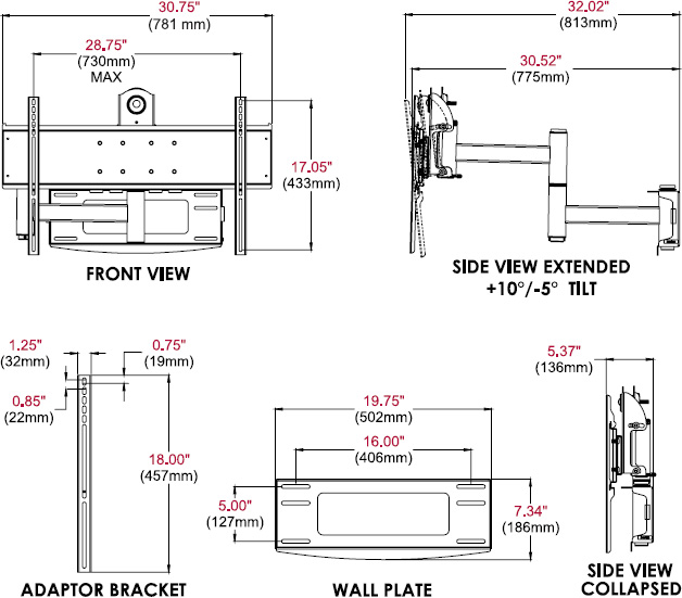Technical drawing for  Peerless PLA50 PLA Series Articulating Wall Arm for 37-80