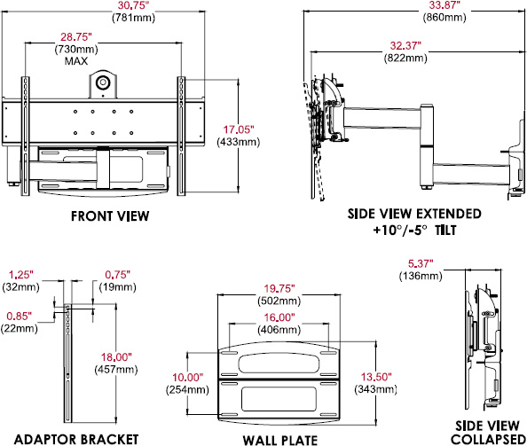 Technical drawing for  Peerless PLA60 PLA Series Articulating Wall Arm for 37-95
