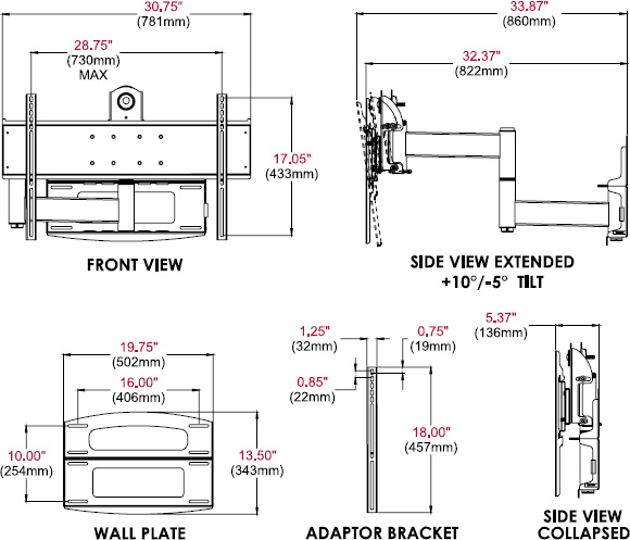 Technical drawing for  Peerless PLAV60-UNL Universal Articulating Wall Arm, 37