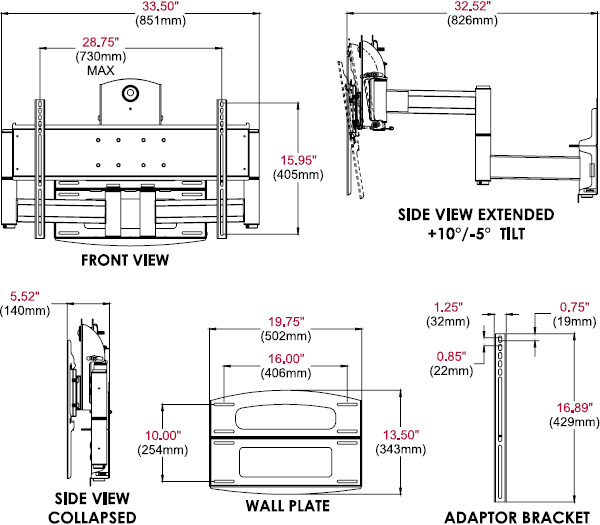 Technical drawing for  Peerless PLAV70-UNLP-GB Universal Articulating Dual Wall Arm, 42