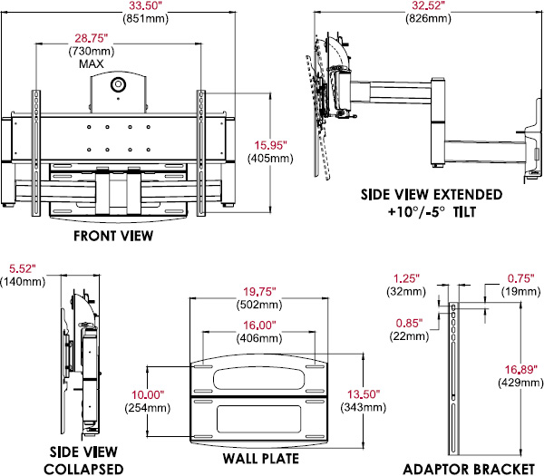 Technical drawing for  Peerless PLAV70 Dedicated Articulating Dual Wall Arm, 42