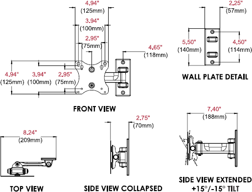 Technical drawing for Peerless PP730 Paramount Pivot Wall Mount for 10