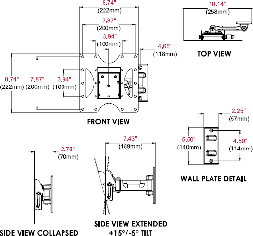 Technical drawing for Peerless PP740 Paramount Pivot Wall Mount for 22