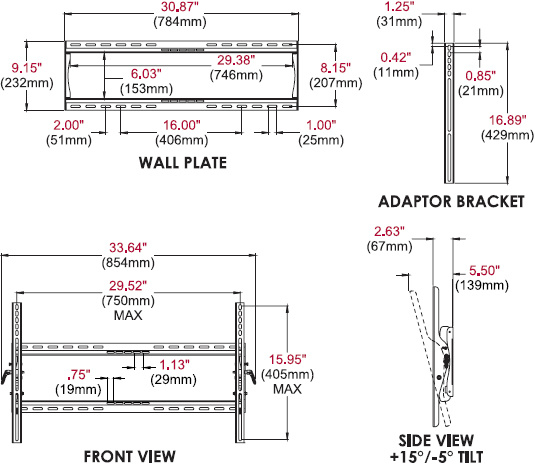Technical drawing for Peerless PT650 Paramount Universal Tilt Wall Mount