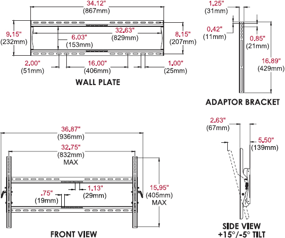Technical drawing for Peerless PT660 Paramount Universal Tilt Wall Mount