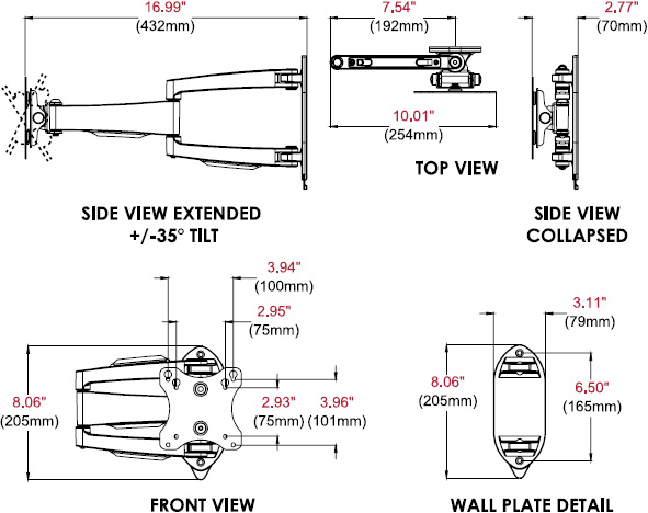 Technical drawing for  Peerless SA730P SmartMount Articulating Wall Mount for 10