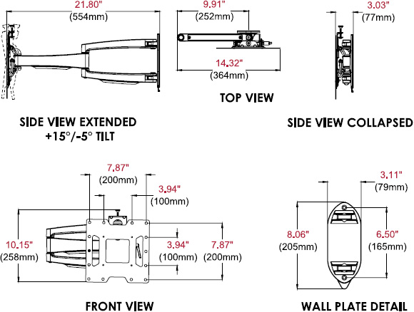 Technical drawing for  Peerless SA740P SmartMount Articulating TV & Display Wall Mount