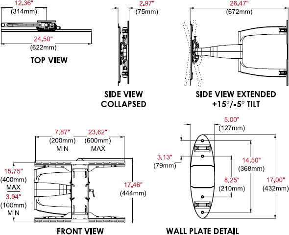Technical drawing for  Peerless SA752PU SmartMount Articulating Wall Mount, 37-55