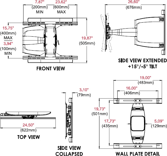 Technical drawing for  Peerless SA761PU SmartMount Articulating Wall Arm, 39-75