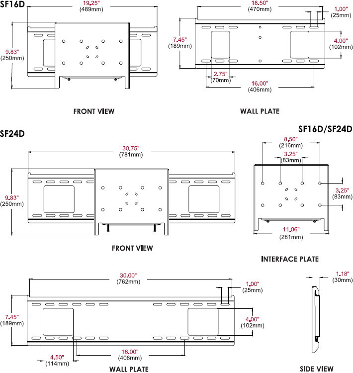 Technical drawing for Peerless SF16D or SF24D Display-Specific Flat Wall Mount