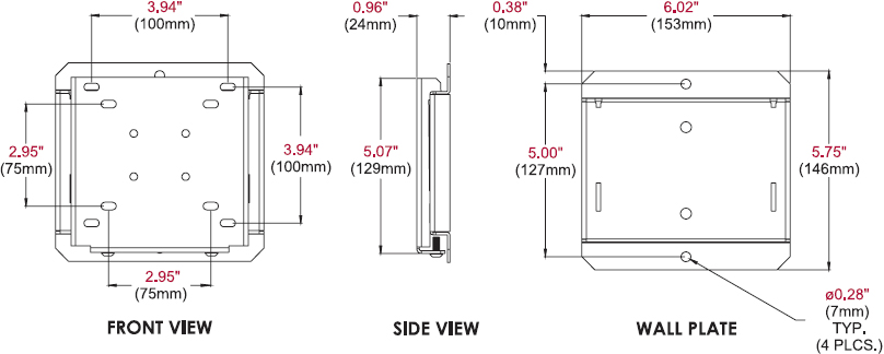 Technical drawing for Peerless SF630 or SF630P SmartMount Flat Wall Mount