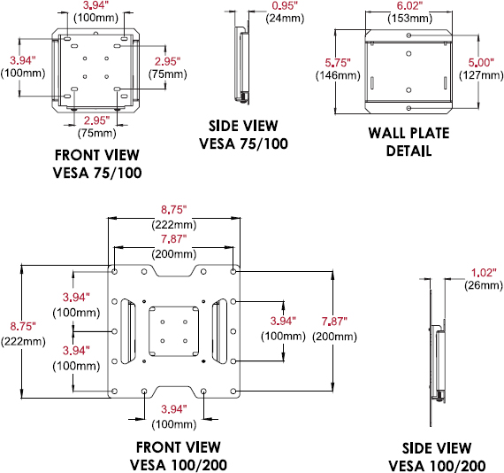 "Technical drawing for Peerless SF632 or SF632P SmartMount Flat Wall Mount for 22""-40"""